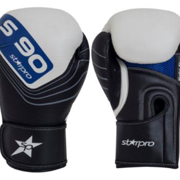 Leren bokshandschoenen Starpro S90   zwart-wit-blauw