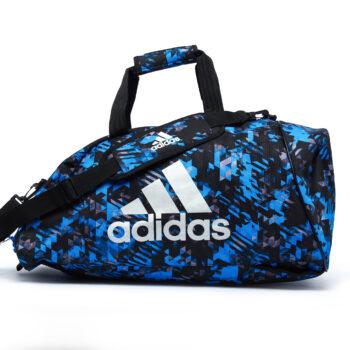 Adidas sporttas en rugzak | blauw-zwarte camoprint