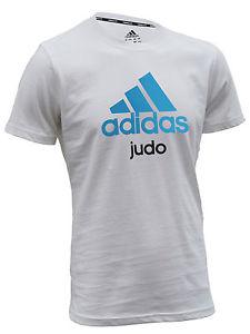 Adidas judo T-shirt | wit met blauwe opdruk | MET KORTING