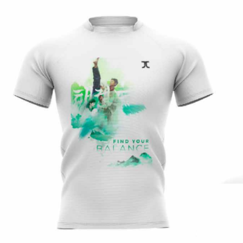 Trainingshirt JC Taekwondo Find your balance | wit-groen