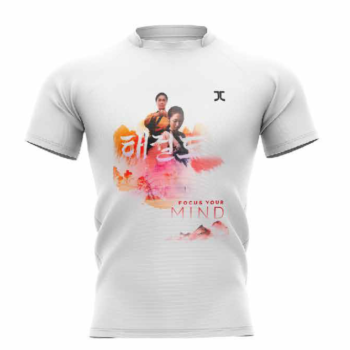Trainingshirt JC Taekwondo Focus your Mind | wit-oranje