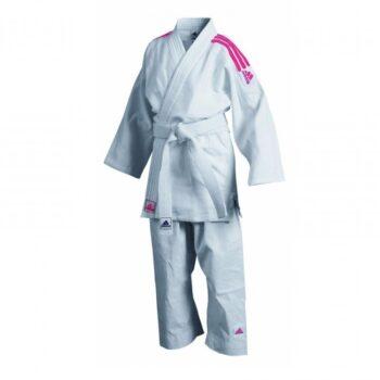 Judopak Adidas voor beginners & kinderen   J350   wit-roze