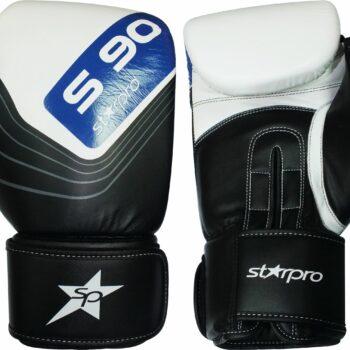 Leren bokshandschoenen Starpro S90 Elite   zwart-wit-blauw